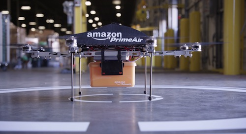 Amazon Prime Air. Octocopter drone ready for take-off.
