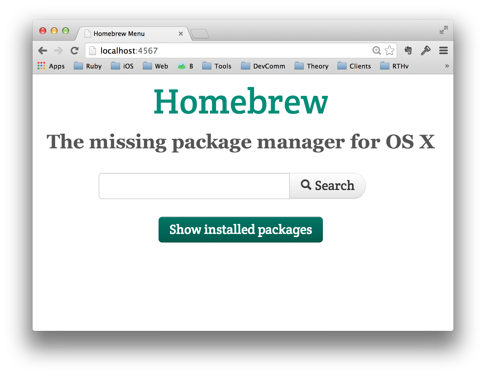 Browsing locally-installed Homebrew packages.