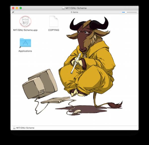 Opening the MIT/GNU Scheme disk image.