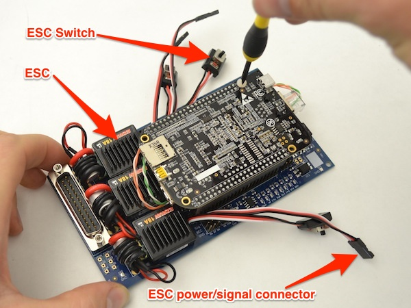 Three ESCs, one for each motor. Each ESC has a switch and a power/signal connector.