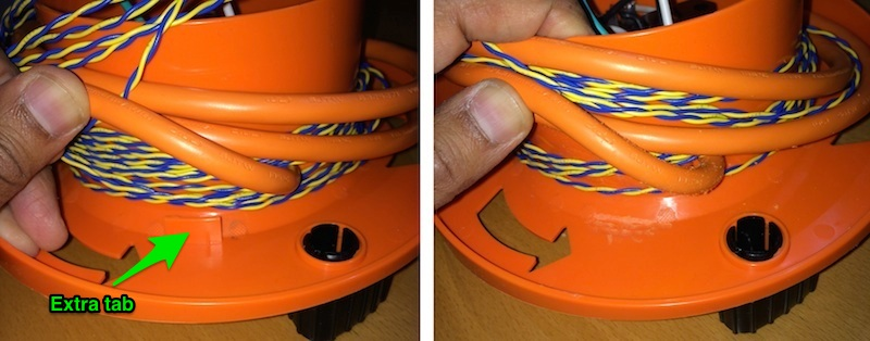 Extra tab inside the reel, before and after removal.