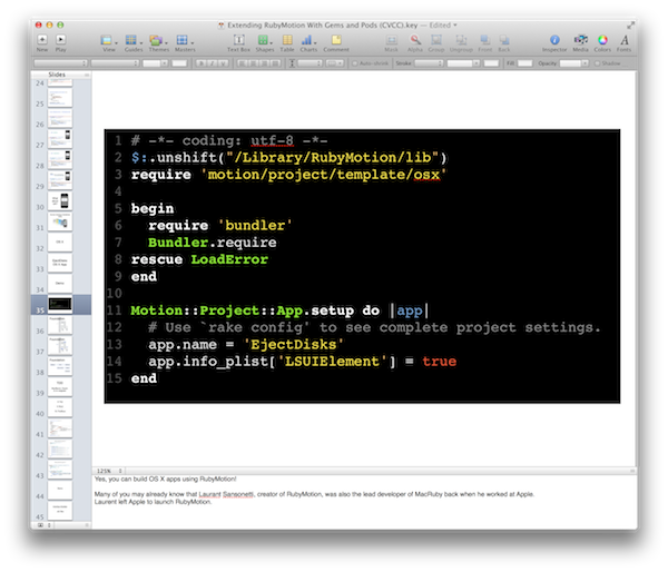 The final snippet, in Keynote.