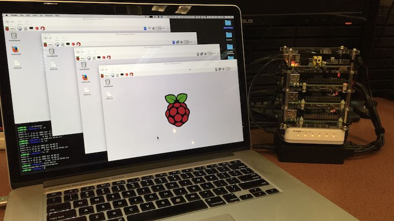 Raspberry Pi cluster controlled via VNC