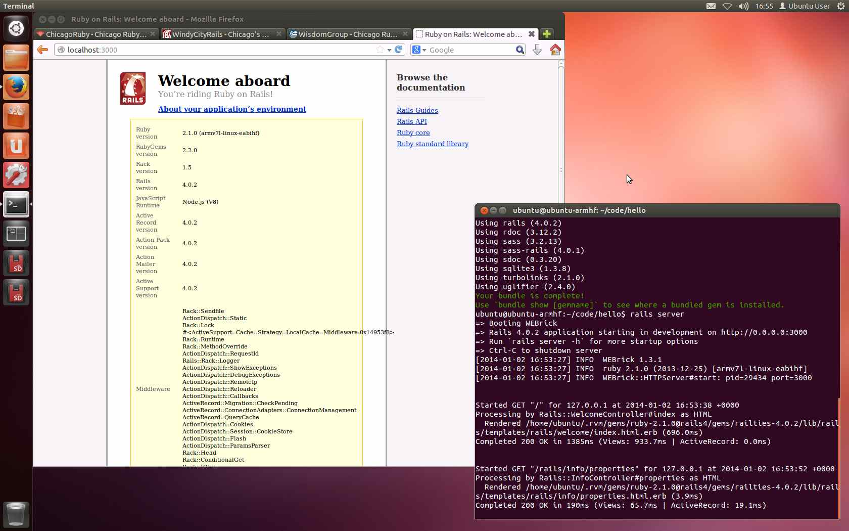 BeagleBone Black running Ubuntu, Ruby, & Rails.