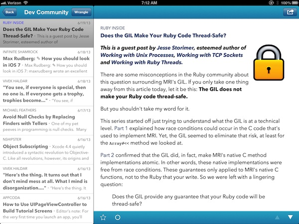 Google Reader Replacement: Feed Wrangler - iPad