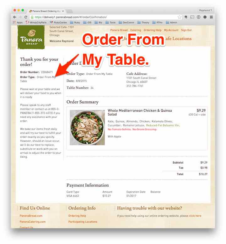 Panera: Order from my table.