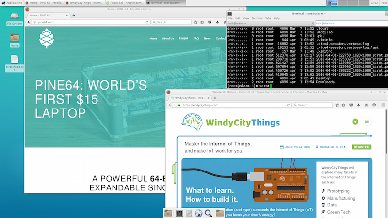 Pine64 desktop with WindyCityThings in the browser